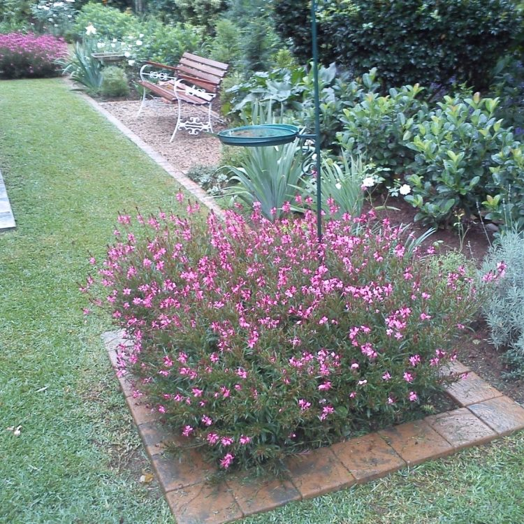 Formal-garden-4: Garden landscaped in Woodgrove retirement village, Pietermaritzburg with cobble edging, gravel garden feature including garden bench.