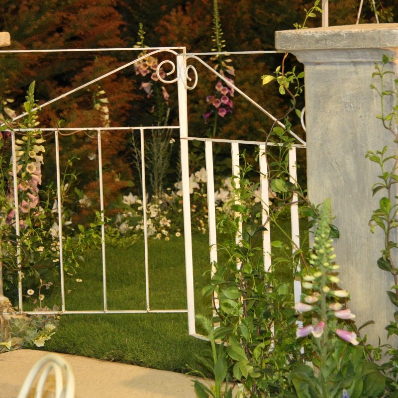 Formal-garden-5: Bespoke gates & columns with traditional herbaceous border planting, Garden Show 2007, PMB