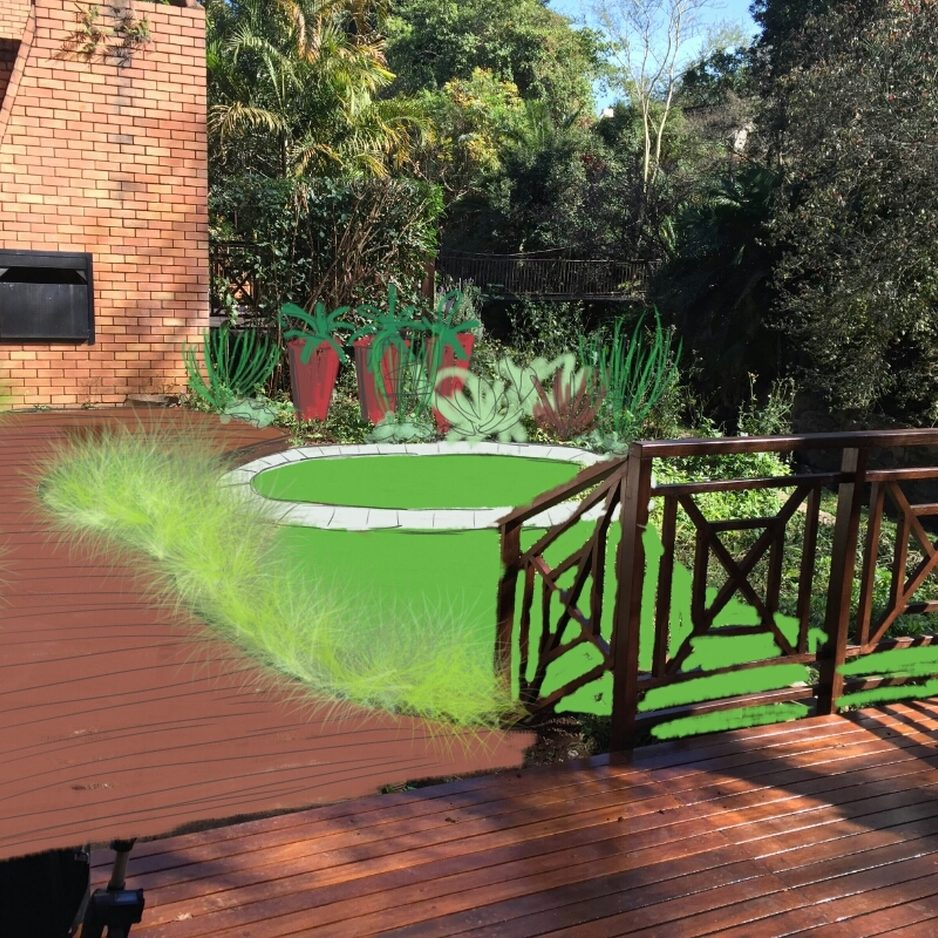 Contemporary-small-garden7: Contemporary designed private garden Villa Valencia in Pietermaritzburg KZN with decking pathway, steel bed edging and mixed succulents and foliage plants.